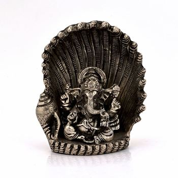 White Metal Antique Lord Ganesha On Naag Idol Diwali Special Gift 310