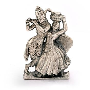 Lord Radha Krishna Antique White Metal Idol Deepawali Gift 311