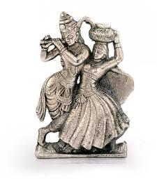 Lord Radha Krishna Antique White Metal Idol Deepawali Gift 311