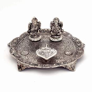 White Metal Lord Laxmi Ganesh With Dia Thali Diwali Gift 317