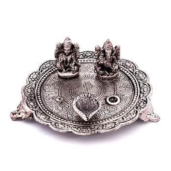 White Metal Lord Laxmi Ganesh With Dia Thali Deepawali Special Gift 320