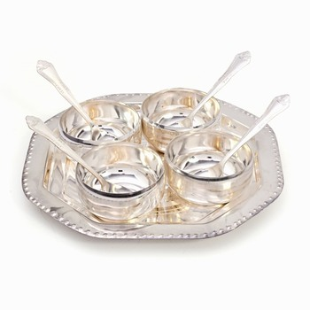 Silver Polish 4 Brass Bowl 4 Spoon N Tray Set Deepawali Gift 333