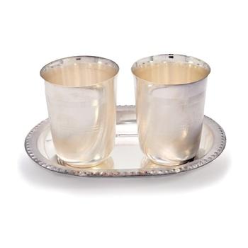 Silver Polished Designer 2 Brass Glass N Tray Diwali Gift 335