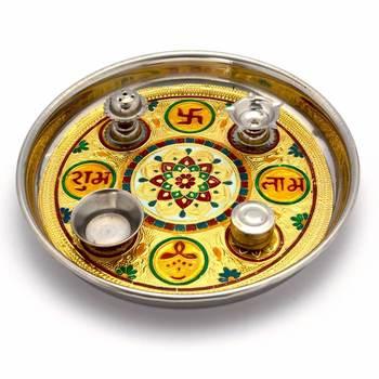 Meenakari Work Shubh Laabh Decorative Pooja Thali Deepawali Gift 364