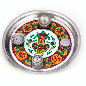Meenakari Work Shubh Labh Fancy Kalash Pooja Thali Diwali Gift 416