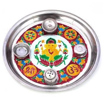 Designer Meenakari Shubh Laabh Ganpati Pooja Thali Deepawali Special Gift 417