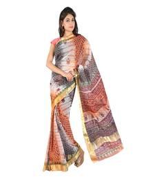 Golden Border Floral Print Fancy Kota Doria Saree Diwali Gift 226