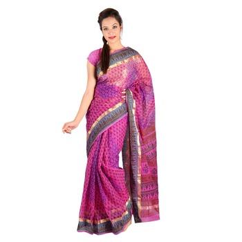 Floral Lehariya Designer Magenta Kota Doria Saree Deepawali Special Gift 229
