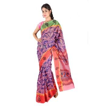Floral n Booti Design Pink Blue Kota Doria Saree Diwali Special Gift 230