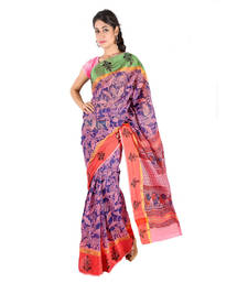 Buy Floral n Booti Design Pink Blue Kota Doria Saree Diwali Special Gift 230 diwali-sarees-collection online