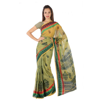 Unique Design Floral Print Green Kota Doria Saree Deepawali Gift 233