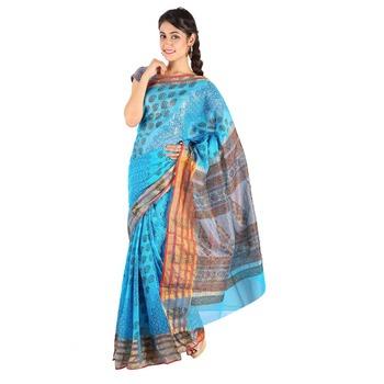 Designer Paisley Print Fancy Blue Kota Doria Saree Deepawali Special Gift 241