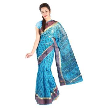 Latest Floral Print Design Border Kota Doria Sari Diwali Special Gift 242