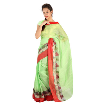 Red Border Hand Weaved Green Cotton Doria Saree Deepawali Gift 247