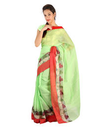 Buy Red Border Hand Weaved Green Cotton Doria Saree Deepawali Gift 247 diwali-sarees-collection online