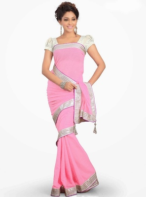 Sonakshi Sinha Amazing Designer Pink Chiffon Saree Diwali Gift 548