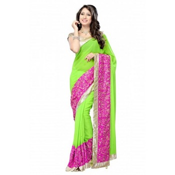 Sridevi Bollywood Design Zari Border Chiffon Saree Diwali Special Gift 558