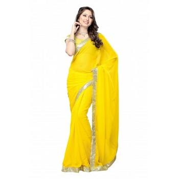 Daisy Shah Designer Yellow Crepe Bollywood Saree Diwali Gift 571