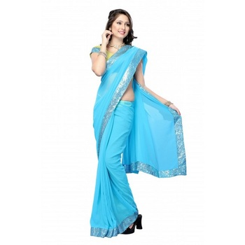 Daisy Shah Aqua Blue Color Bollywood Designer Sari Deepawali Special Gift 576