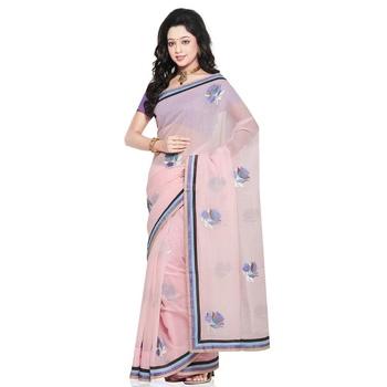 Exclusive Super Net Pure Cotton Saree Blouse Set Deepawali Gift 213
