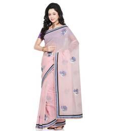Buy Exclusive Super Net Pure Cotton Saree Blouse Set Deepawali Gift 213 diwali-sarees-collection online