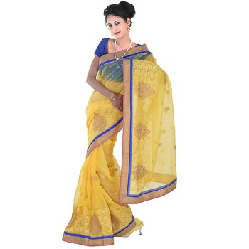 Designer Karachi Embroidery Yellow Supernet Saree Diwali Gift 264