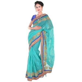 Allover Golden Karachi Lotus Design Supernet Saree Deepawali Special Gift 265