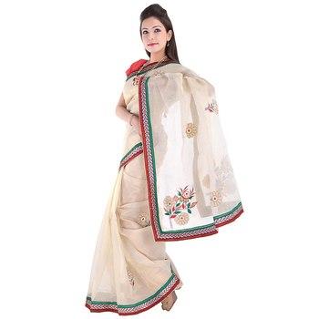 Fancy Resham Boota N Moti Beads Multi Color Saree Diwali Gift 274