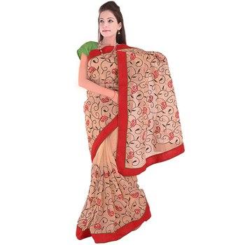 Floral Leaf Design Resham Embroidery Supernet Sari Deepawali Special Gift 275