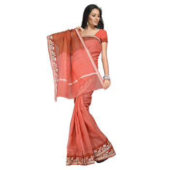 Fancy Kota Doria Pure Cotton Red Saree N Blouse Diwali Special Gift 106