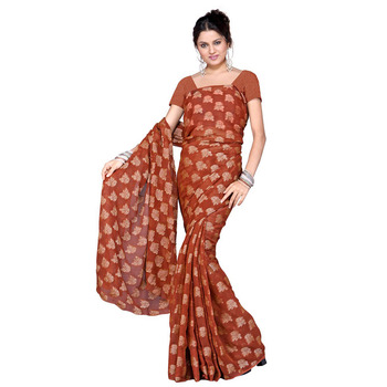 Floral Design Party Wear Faux Georgette Silk Saree Deepawali Gift 109