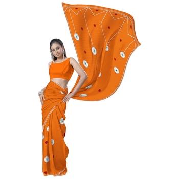 Fancy Embroidered Designer Orange Kota Doria Saree Diwali Special Gift 164