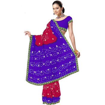 Designer Bandhej Chiffon Purple Red Saree n Blouse Diwali Gift 179
