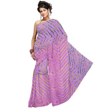Fancy Pink Lehariya Designer Moss Crepe Pink Saree Diwali Gift 184