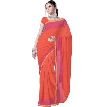 Ethnic Designer Kota Doria Pure Cotton Orange Sari Deepawali Gift 202