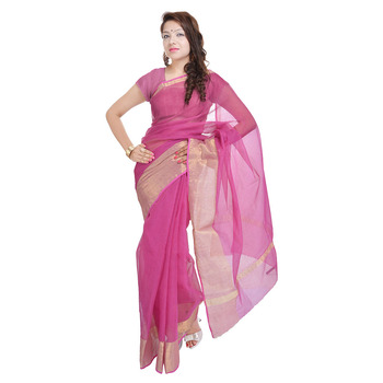 Designer Golden Zari Work Magenta Kota Doria Saree Deepawali Gift 308