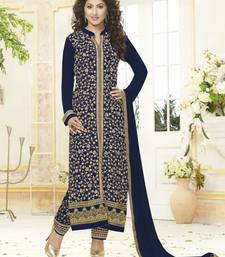Buy Navy Blue Pure GeorgetteDrees Material collar-neck-design online