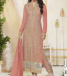 Peach Pure Georgette Dress Material
