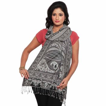 Black n White Pure Kashmiri Reversible Silk Stole Diwali Gift 183