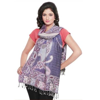 Ethnic Paisley Print Reversible Purple Silk Stole Diwali Special Gift 186