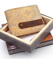 Gents Designer Genuine Leather Beige Color Wallet Diwali Gift 172