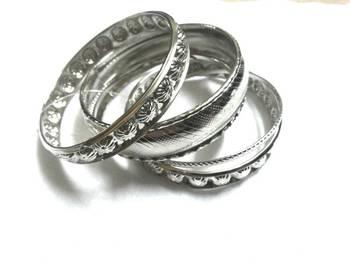 Sparkling silver bangles set