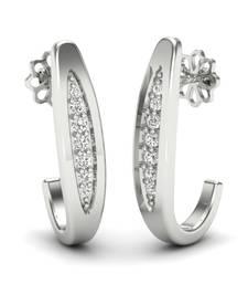 Buy Rich Platinum Plated Swarovski Crystal Sterling Silver Chandbali Earring hoop online