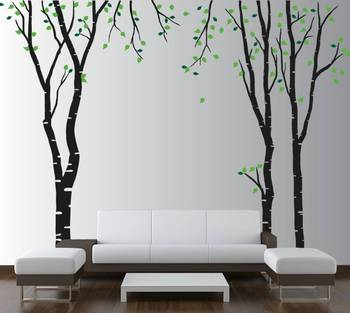 Wall decals birch tree with leaves stickers