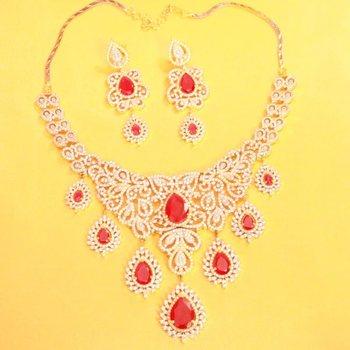 Beautiful American Diamond Ruby Necklace Set