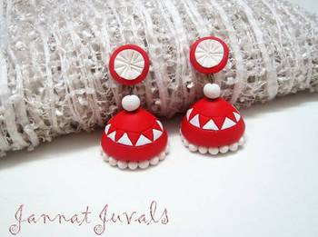 Bright Red and White Temple Jhumka