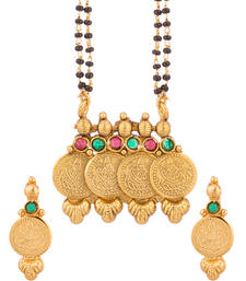 Buy Yellow Gold Tone Double String Mangalsutra Set mangalsutra online