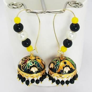 Meenakari Loop Tokri Earring Golden Green Black