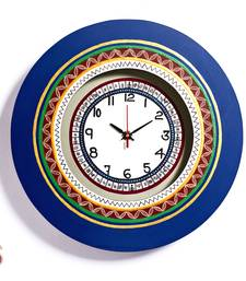 Diwali Gifts Blue Round Wall Clock with Contemporary print