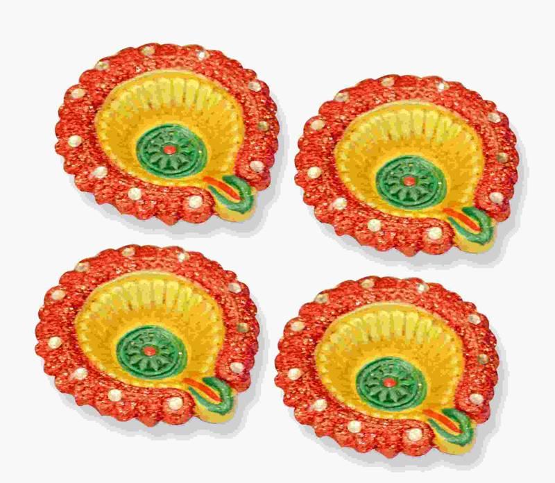 Multicolor Beautiful Handpainted Terracota Diya Set of 4 Online